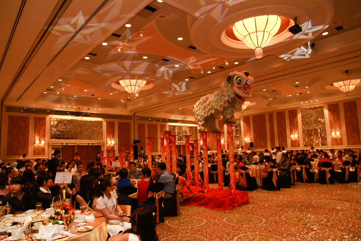 A lion dance performance during the dinner